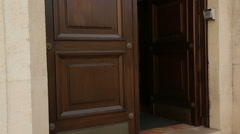 Door of luxury apartment house or hotel under video surveillance, arts museum Stock Footage