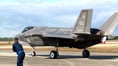 FLORIDA USA, DECEMBER 2015, US Air Force F35 Lightning Aircraft Roll Along Roll - stock footage