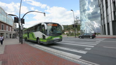 Developed passenger transport infrastructure in big city, active traffic on road Stock Footage