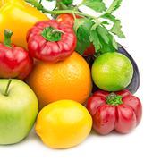 Fruits and vegetables isolated on white background Kuvituskuvat