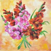 Gladiolus Flowers Painting. - stock illustration