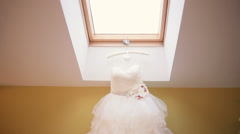 Beautiful Wedding Dresses in Boutique Stock Footage