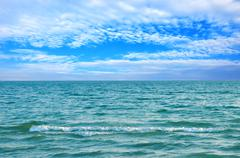 beautiful sea water and blue summer sky - stock photo