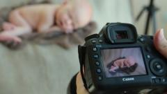 newborn photo shoot 19 baby camera photography - stock footage