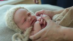 Newborn photo shoot 25 Beanie baby Stock Footage