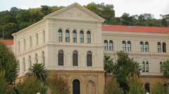 Panorama shot of beautiful municipal building in classical architecture style - stock footage