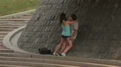 Teenagers dating, teenage love story, couple of students wagging school classes Stock Footage