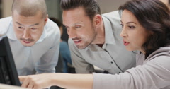 Woman manager leading diverse team meeting in small business. Three people Stock Footage