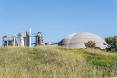 Cement factory, environmental impact, Jerez de la Frontera, Spain - stock photo