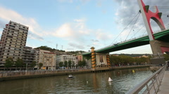 La Salve Bridge across Nervion river, Maman spider near Guggenheim Museum Stock Footage