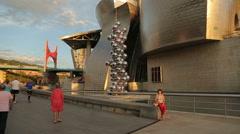 Places of tourist interest in Bilbao, Guggenheim Museum, La Salve Bridge Stock Footage
