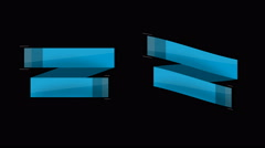Animated retro ribbons and labels. Blue. - stock footage