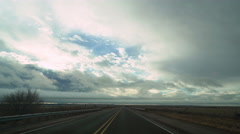 Time Lapse of POV Driving Plate of Transcontinental Highway thru Vast Landscape Stock Footage
