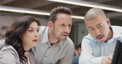 Creative business team meeting in modern glass office multi ethnic group of - stock footage