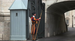 Side view of a swiss guard at saint peter's square, rome Stock Footage