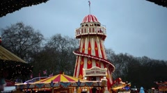 Winter Wonderland Fairground in Central London Stock Footage