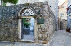 Entrance to Archaeological Museum, Old Town of Budva, Montenegro Stock Photos