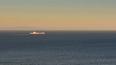 Fast motion of a ferry boat travelling. View from Sounio in Greece. Stock Footage