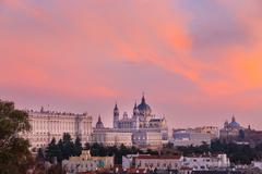 Almudena Cathedral and Royal Palace in Madrid, Spain. - stock photo