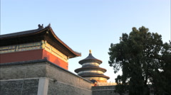 Exterior wall and pavillion at the temple of heaven, beijing Stock Footage