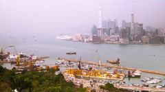 Time lapse aerial panorama view of Hong Kong Island with cargo port terminal Stock Footage