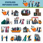 Stateless refugees icons Stock Illustration