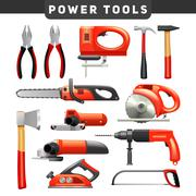 Power Tools Red Black Pictograms Collection - stock illustration