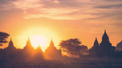 Time lapse of amazing sunset colors over ancient Buddhist Temple. Bagan, Myanmar - stock footage