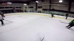 hockey helmet cam watch as teammate scores goal - stock footage