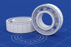 Ball Bearing  mesh over a blueprint background - stock illustration