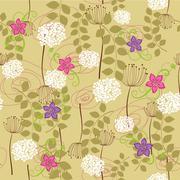 Seamless dandelion and flower wallpaper - stock illustration