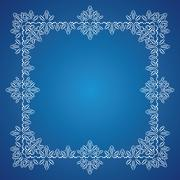Detailed frosty Christmas frame on blue background - stock illustration