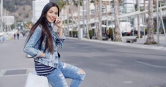 Stock Video Footage of Trendy attractive young woman in a denim outfit