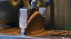 Melted Milk Chocolate Falling through Mixer, 4K Stock Footage