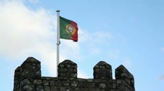 Castle of the Moors fortress wall tower, Portuguese flag, Sintra, Portugal Stock Footage