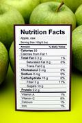 Nutrition facts of raw apples Stock Photos