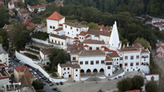 Aerial view of National Palace of Sintra, small European town, Portugal Stock Footage