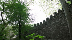 Castle of the Moors fortress wall, Sintra, Portugal Stock Footage