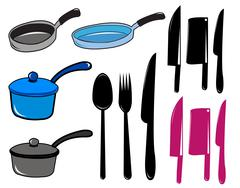 Kitchen tool collection - stock illustration