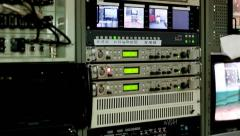 Overview of the global technology television studio broadcasting transmitters - stock footage