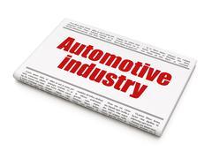 Manufacuring concept: newspaper headline Automotive Industry - stock illustration