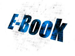 Learning concept: E-Book on Digital background Stock Illustration