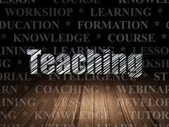 Studying concept: Teaching in grunge dark room - stock illustration