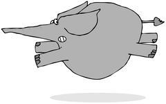 Elephant running scared - stock illustration