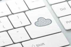 Stock Illustration of Cloud computing concept: Cloud With Code on computer keyboard background