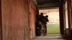 South KOREA, DECEMBER 2015, Soldiers Wait Beside Door For Explosion - stock footage