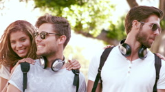 Smiling hipster friends having fun Stock Footage