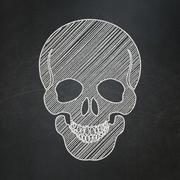 Healthcare concept: Scull on chalkboard background - stock illustration