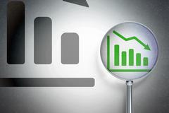 Stock Illustration of Marketing concept:  Decline Graph with optical glass on digital background