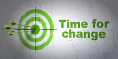 Timeline concept: target and Time for Change on wall background - stock illustration